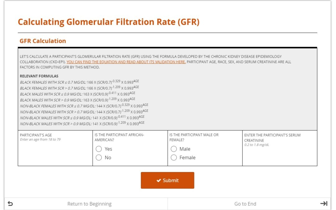 Need a Glomerular Filtration Rate? Let the form do the math!